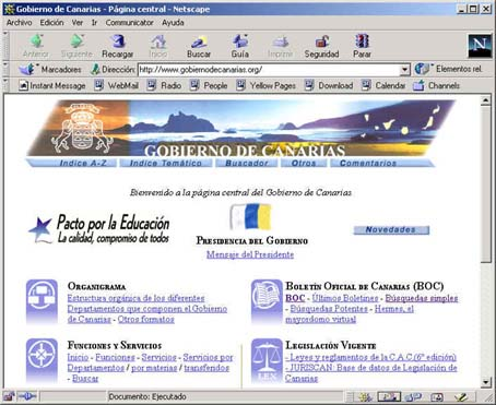 interfaz home page