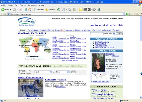 Virtual Tourist home page